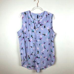 NYDJ Purple Hummingbird Print Pin-tuck Blouse XL